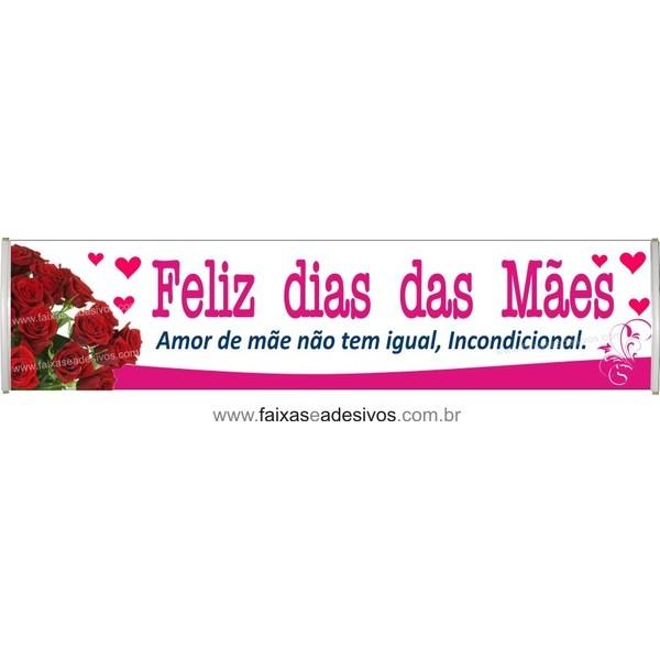 Faixa Mãe Rosas Vermelhas 3,00 x 0,70m  - Fac Signs