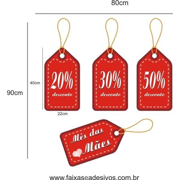 Adesivo Dia Das Mães TAG Promocional 80 x 90cm  - FAC Signs Impressão Digital