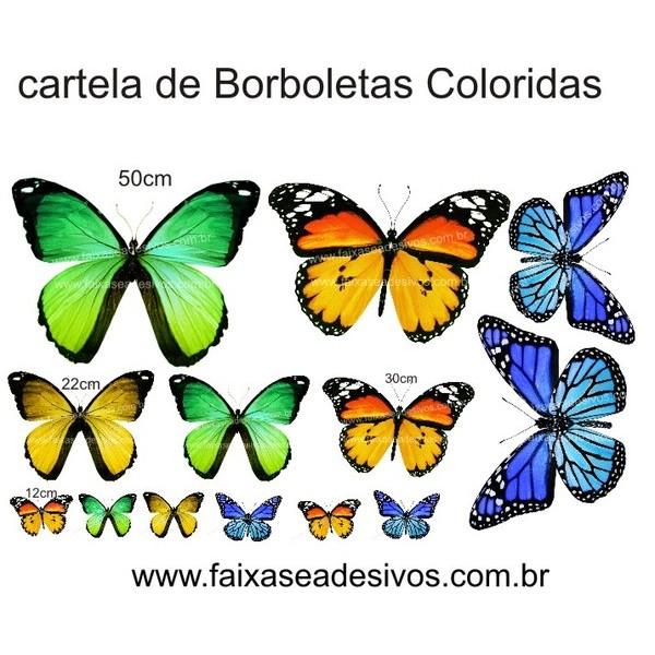 Borboletas Coloridas Cartela de adesivo  - Fac Signs
