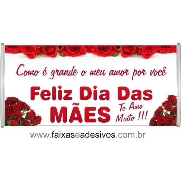 Faixa Dia das Mães Rosas Vermelhas 1,70 x 0,70m  - Fac Signs