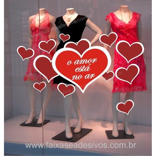 Adesivo Dia dos Namorados Corações do Amor 1,20 x 0,60m  - Fac Signs