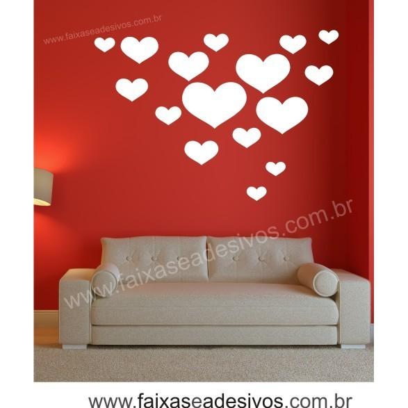 Adesivo Corações Brancos 80 x 0,60m  - Fac Signs