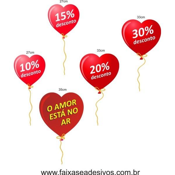 Adesivo Balões O Amor esta no ar 5 peças  - Fac Signs