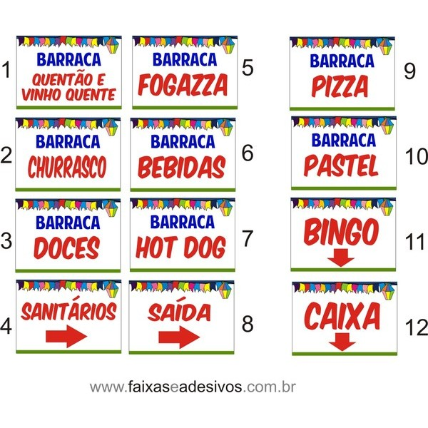 Faixa Festa Junina Barracas 1,00 x 0,70m  - FAC Signs Impressão Digital