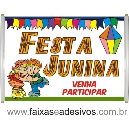 Faixa Barraca de Festa Junina 1,00 x 0,70m  - FAC Signs Impressão Digital