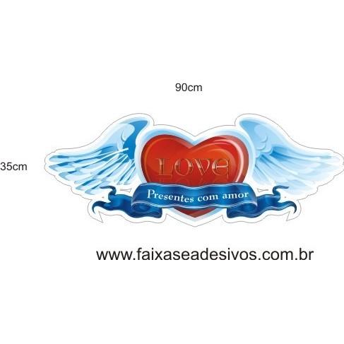 Adesivo Coração Cupido 90 x 35cm  - Fac Signs
