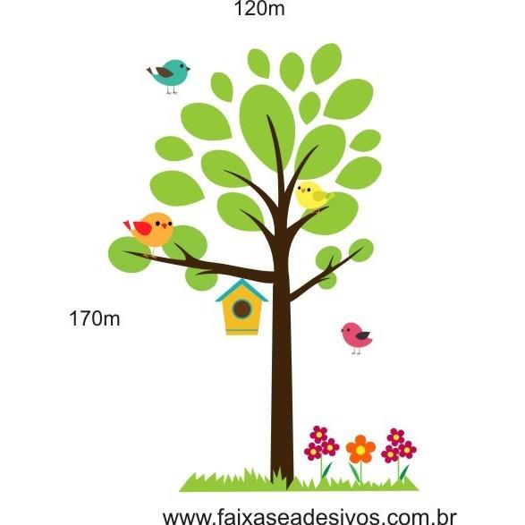 017 - Arvore Adesivo Delicata Casa de Passarinhos Z1 1,70 x 1,20m  - Fac Signs