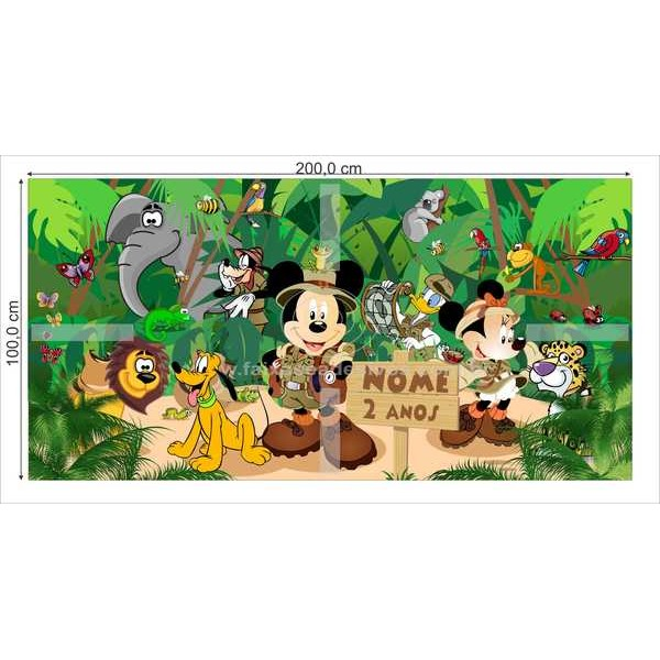 Painel de Aniversário Safari Mickey  - FAC Signs Impressão Digital