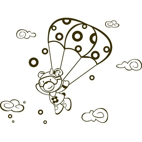Infantil Adesivo Menina Paraquedas 1,10x0,90m  - FAC Signs Impressão Digital