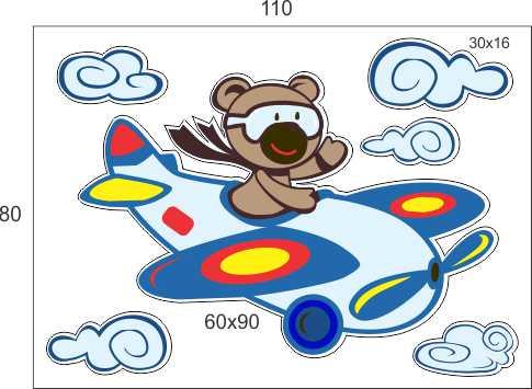 Infantil Adesivo Menino Avião 1,10x0,80m  - FAC Signs Impressão Digital