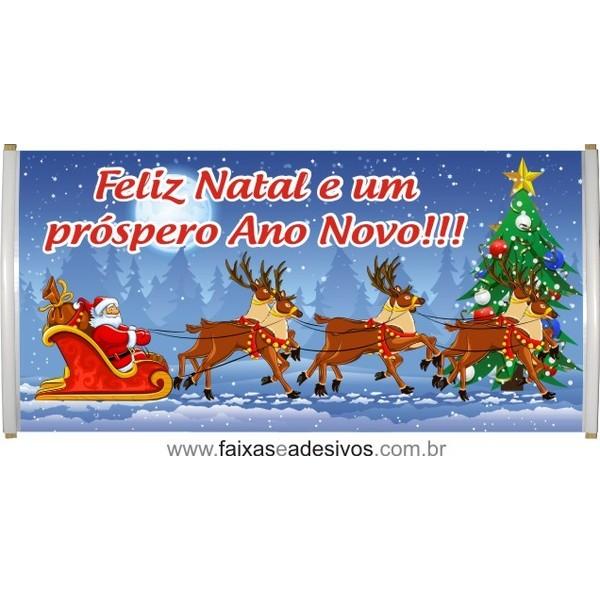 Faixa Feliz Natal Trenó 1,50 x 0,70m  - Fac Signs