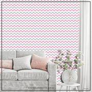010 - Adesivo Decorativo de parede Chevron rosa e cinza - 58cm larg