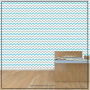 006 - Adesivo Decorativo de parede Chevron azul com cinza - 58cm larg