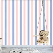 021 - Adesivo Decorativo de parede Listras azul e rosa - 58cm larg
