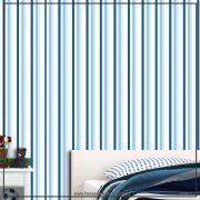 022 - Adesivo Decorativo de parede Listras azul fino - 58cm larg