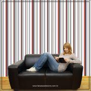 025 - Adesivo Decorativo de parede Listras preto e vermelho - 58cm larg