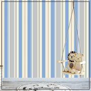 027 - Adesivo Decorativo de parede Listras azul com pastel - 58cm larg