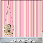 033 - Adesivo Decorativo de parede Listras creme rosa - 58cm larg