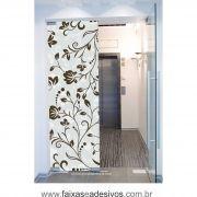 070 VD - Adesivo Jateado para vidro Floral grande  210x70cm