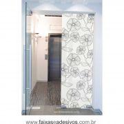 073 VD - Adesivo Jateado para vidro Flor em riscos 220x70cm