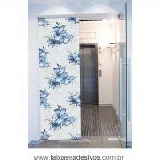 075 VD - Adesivo Jateado para vidro Floral Blue 220x70cm