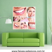 Placa com foto sorriso Mosaico 90x90cm