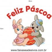 Feliz Páscoa coelhinhos meigos adesivo