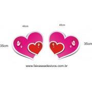 Adesivo Coração Molhado 0,40 x 0,35cm 2 peças