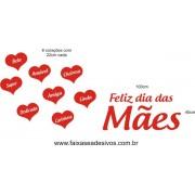 Adesivo Dias das Mães com Texto 1,00 x 0,45 e 8 Corações 22cm cada