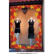 Adesivo Folhas de outono barrado decorativo