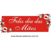 Adesivo Dia das Mães Tarja cantoneira de rosas vermelhas