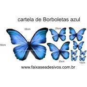 Borboletas Azul Cartela de adesivo