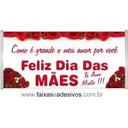 Faixa Dia das Mães Rosas Vermelhas 1,70 x 0,70m