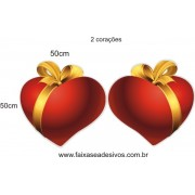 Adesivo Coração com Fita Dourada 50 x 50cm - 2 peças