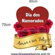 Adesivo Coração com Rosas 70 x 60cm