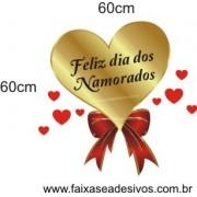 Adesivo Coração Dourado com Laço 60 x 60cm