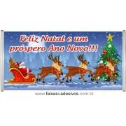 Faixa Feliz Natal Trenó 1,50 x 0,70m