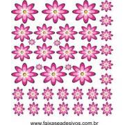 Pikê Flores Pink adesivo cartela 1,20 x 1,40cm