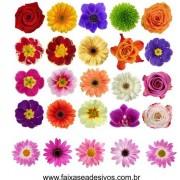 Cartela de Flores New M - adesivo com  66 flores - Escolha a sua