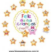 Dia das Crianças iluminado de alegria adesivos divertidos