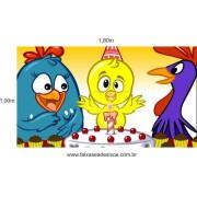 Painel de Aniversário Galinha Pintadinha Parabéns Amarelinho 160x100cm