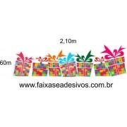 Adesivo Natal Barrado de Presentes Alegres - 2,10x0,60m
