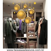 Adesivos Bolas de Natal Amarelo - P M G