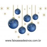 Adesivo Bola de Natal Azul com corrente (P-M-G)