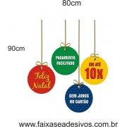 Adesivo Bolas de Natal com Texto 90 x 80cm