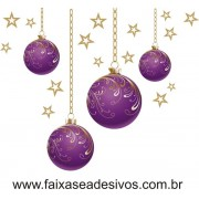 Adesivo Bolas de Natal Roxa (P-M-G)