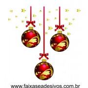 Adesivo Bolas de Natal Estreladas Vermelho (P-M-G)