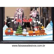 Adesivo Trenzinho de Natal na Neve 2,20 x 0,90m