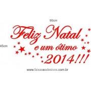 Adesivo Texto Feliz Natal e Ótimo 2014 - 0,90 x 0,45m