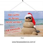 Placa de Natal Boneco de Areia 75 x 50cm